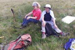Janie and Jean take a break from surveying Iron Age platforms.